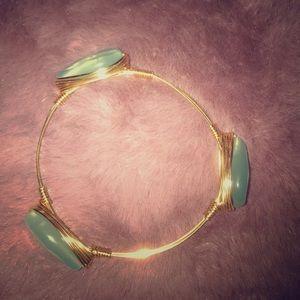 Pink pineapple gold bracelet with aqua jewels